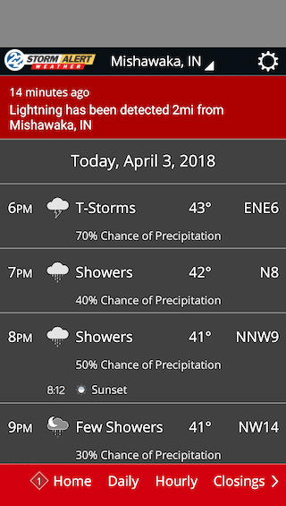 WSBT Weather detailed daily weather screenshot