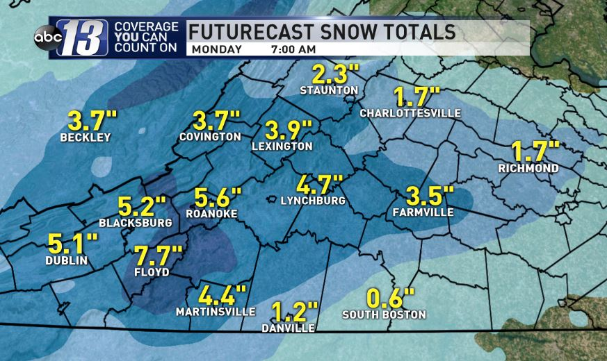 Forecast snow amounts for Sunday and Monday<p></p>