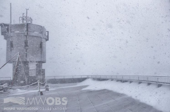 Mount Washington Observatory reported snow as early as 10 p.m. Saturday evening. (Mount Washington Observatory)