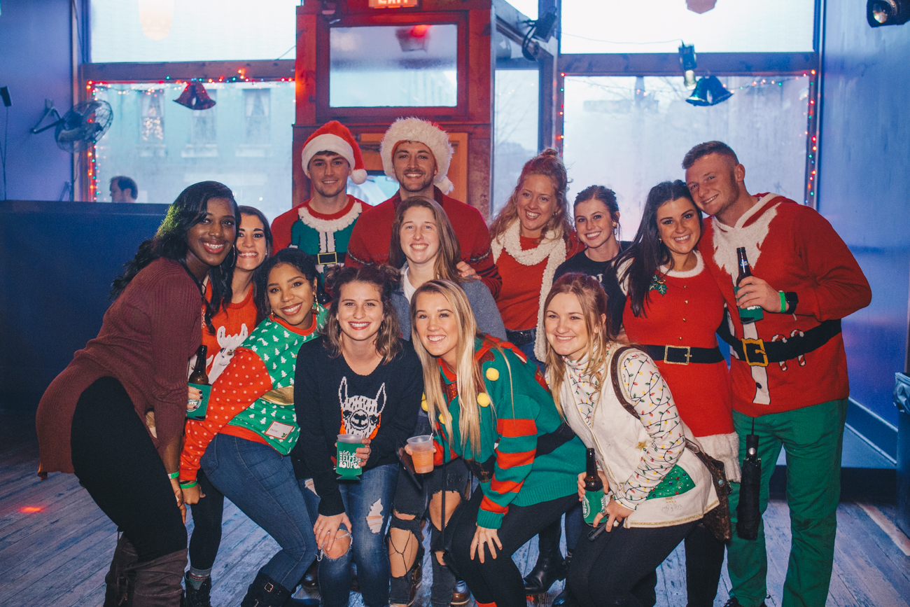 Megan Grubb, Jasmine Cahil, Jordan Staggs, Cassandra Fezziah, Christin Elliot, Kierra Knox, Elizabeth Batenah, AJ Glines, Quincey Webb, Travis Holmes, Hailey Green, Brooke Justice, and Tyler Knabb{ }at Mr. Pitiful's / Image: Catherine Viox // Published: 12.2.18