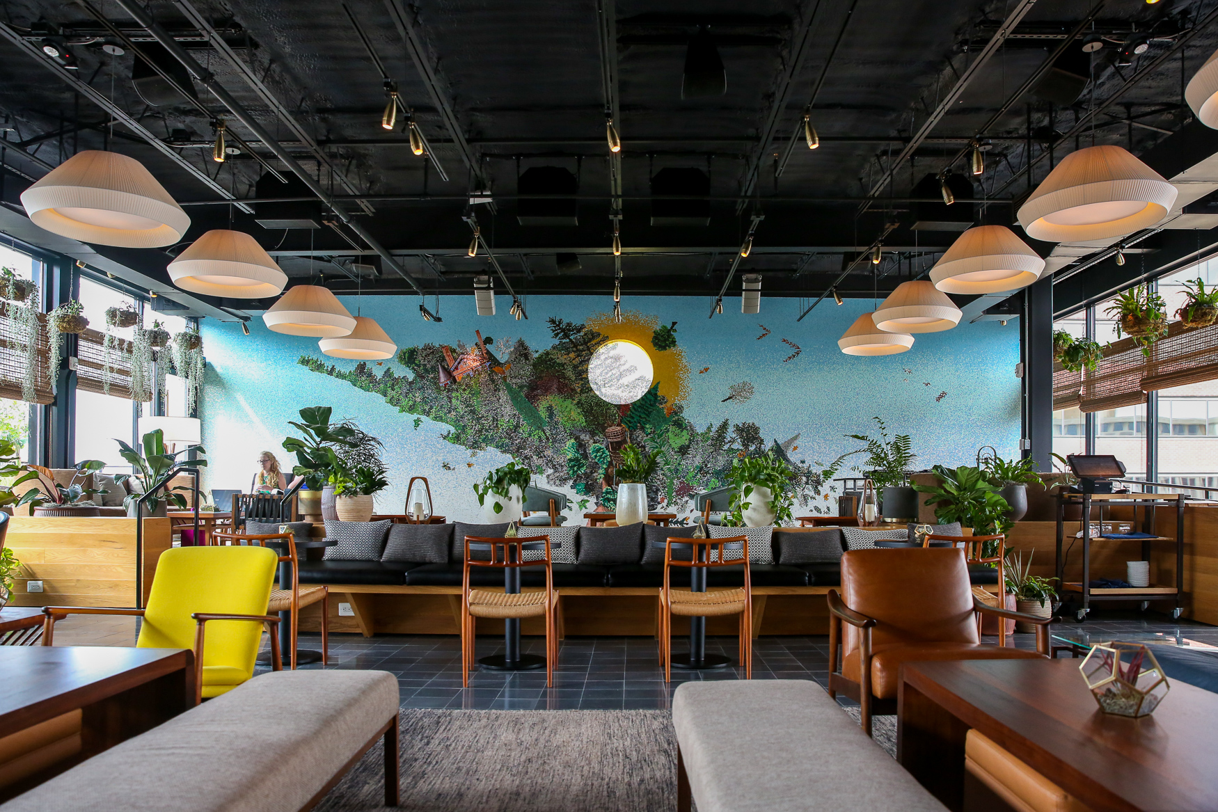 Wild Days, Eaton's rooftop bar, is sure to be a hit with its relaxing chairs and stunning mosaic interiors. (Amanda Andrade-Rhoades/DC Refined)<br>