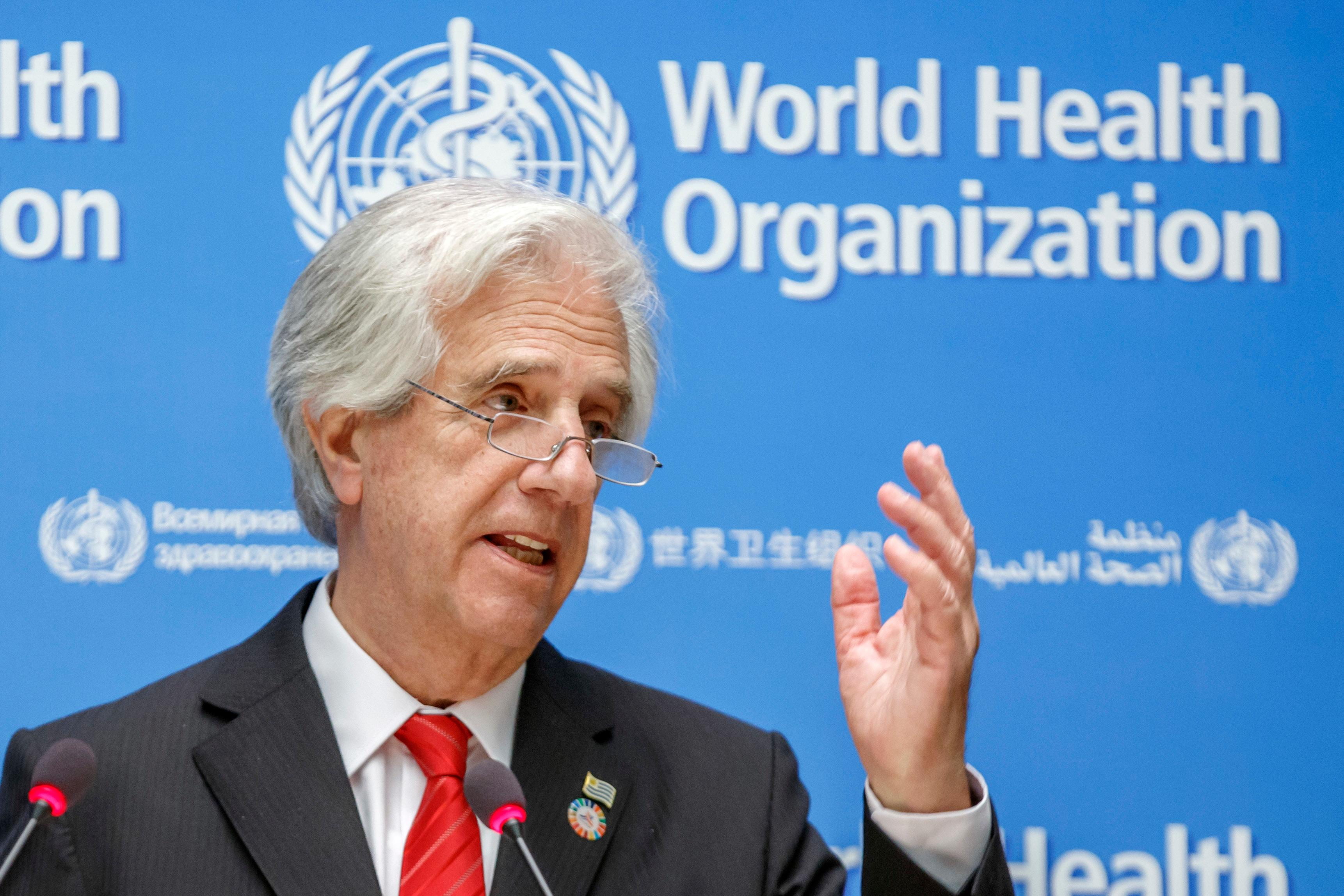 Uruguay's President Tabare Vazquez gestures during his statement as part of the launch of the report WHO Independent High-Level Commission on Noncommunicable Diseases (NDCs) at the headquarters of the World Health Organization (WHO) in Geneva, Switzerland, Friday, June 1, 2018. (Salvatore Di Nolfi/Keystone via AP)
