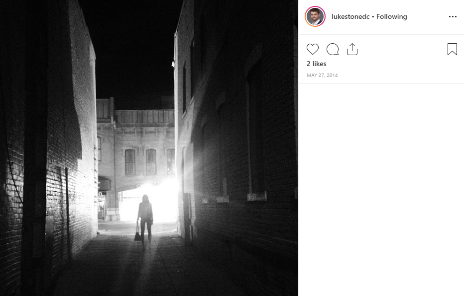 Luke also enjoys late nights in Georgetown alleys. (Image: via IG user @lukestonedc)