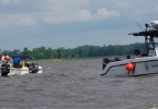 Dive teams search Lake Winneconne for a missing boater, July 8, 2014. (Photo courtesy Doug Sasse)