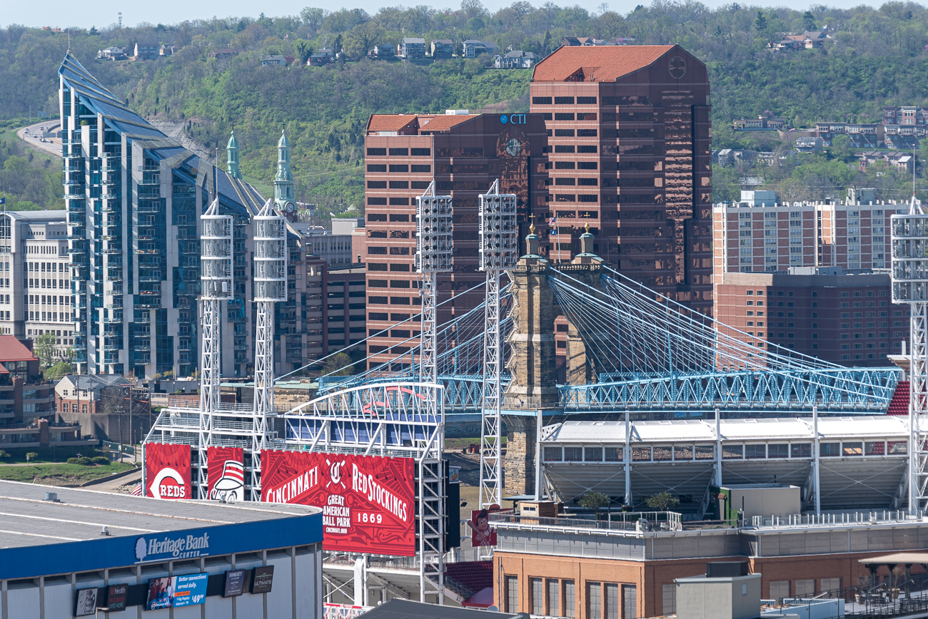 View #2: Mt. Adams / You can see the Roebling Bridge as well as Covington's larger buildings all in one narrow line of sight. / Image: Phil Armstrong // Published: 4.24.20