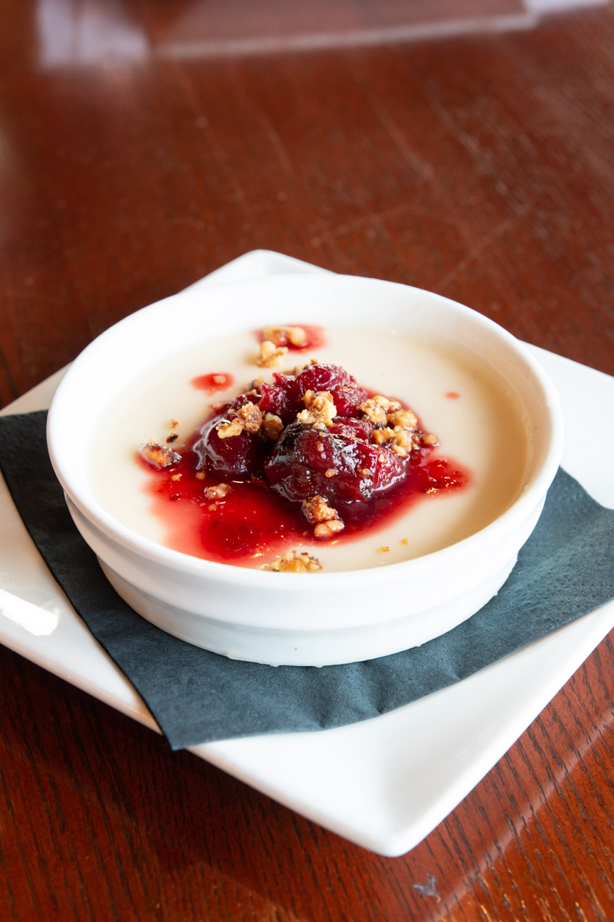 <p>Seasonal Panna Cotta with cranberries and walnuts / Image: Elizabeth A. Lowry // Published: 1.13.19</p>