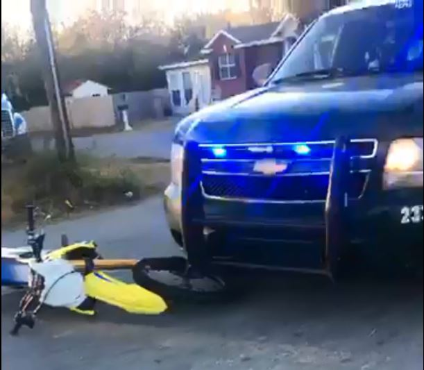 Photo: Scene of a collision between an off-road motorcycle and ECSO vehicle on Calloway Street on Saturday, Dec. 30th 2017. Photo Courtesy: Larry Clay