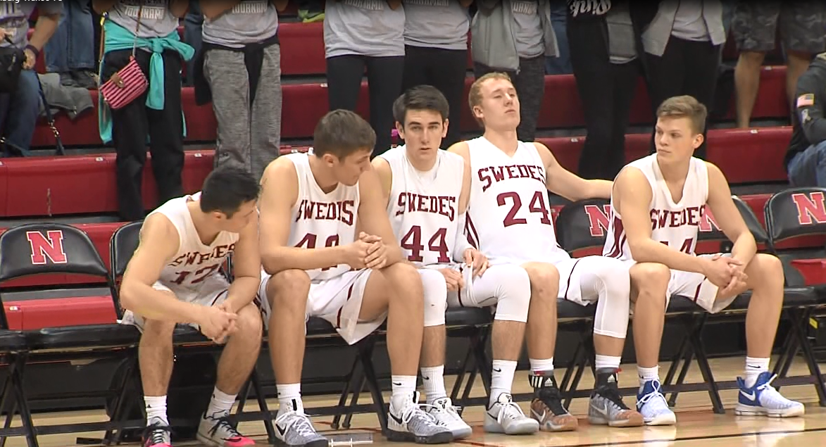 Collin Hahn (24) and Gothenburg's starters wait to be introduced before their quarterfinal against Wahoo on March 9, 2017 (NTV News)