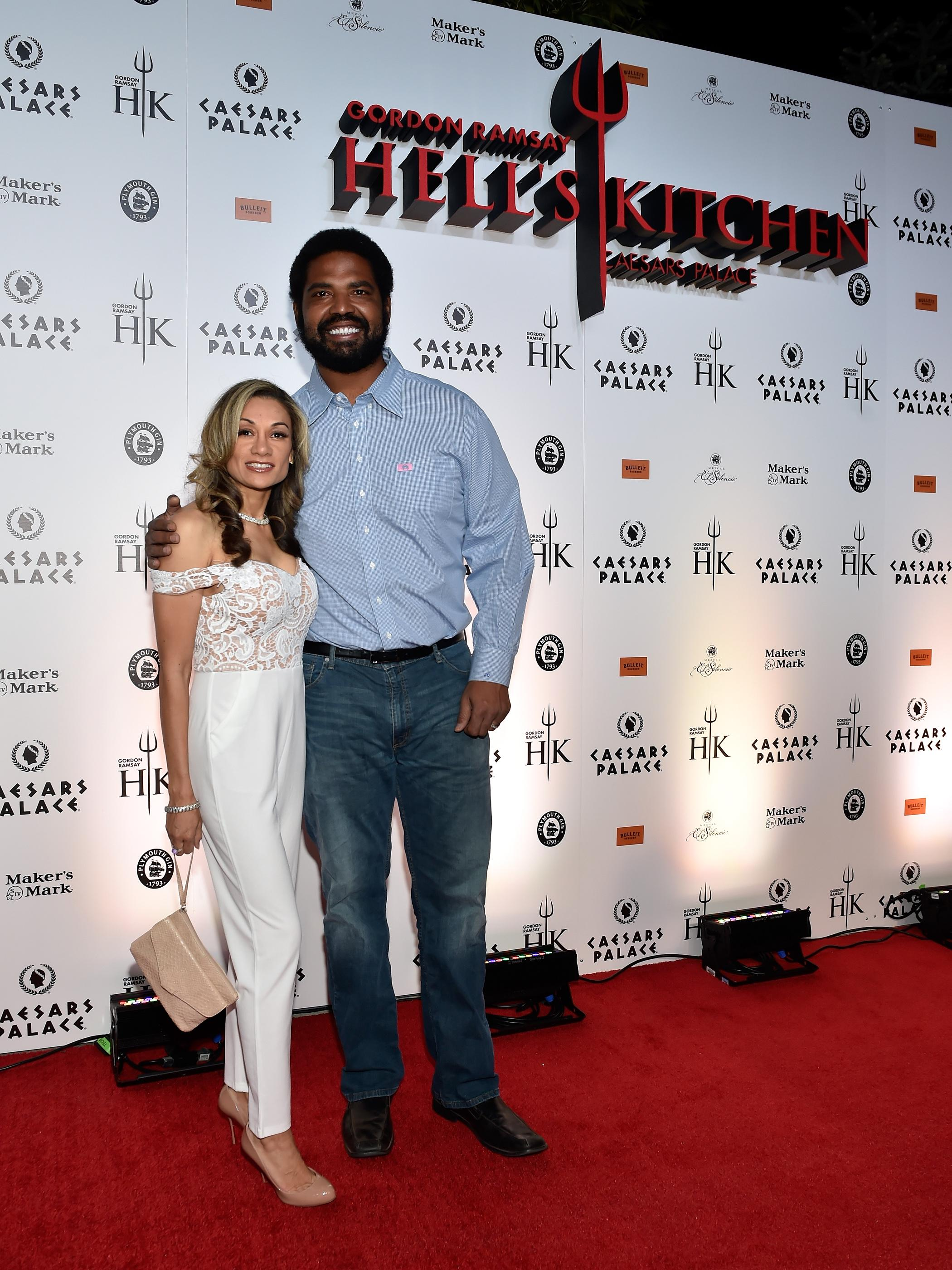NFL Hall of Famer Jonathan Ogden, right and his wife Kema Francis pose on the red carpet at the grand opening of Gordon Ramsay Hell's Kitchen at Caesars Palace Friday, Jan. 26, 2018, in Las Vegas. CREDIT: David Becker/Las Vegas News Bureau