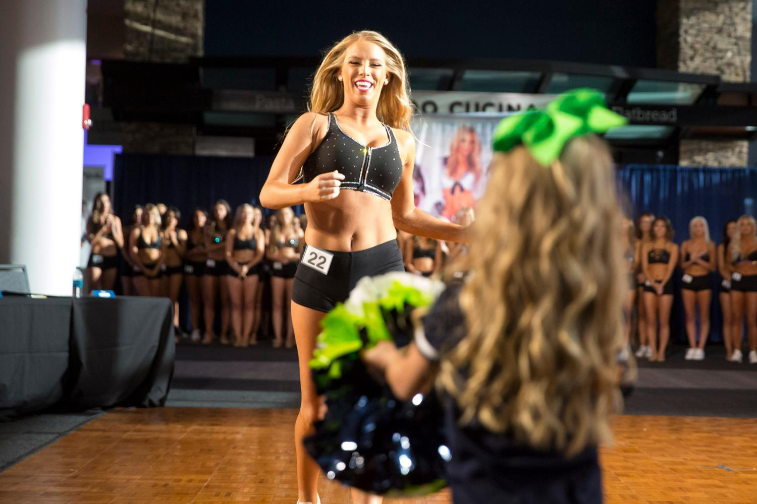 Welcome Laura, a 2018 Sea Gal! Dancers performed a choreographed routine and spoke briefly about themselves. The entire evening was live broadcasted on the Seahawks website. (Sy Bean / Seattle Refined)