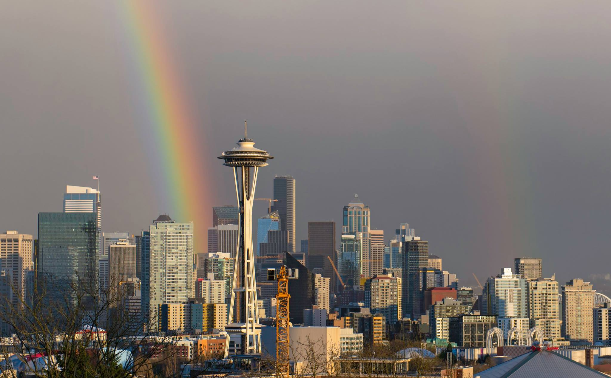 Two rainbows are seen in the sky in Seattle, Monday, April 10, 2017. (Photo: Greg Shaw)