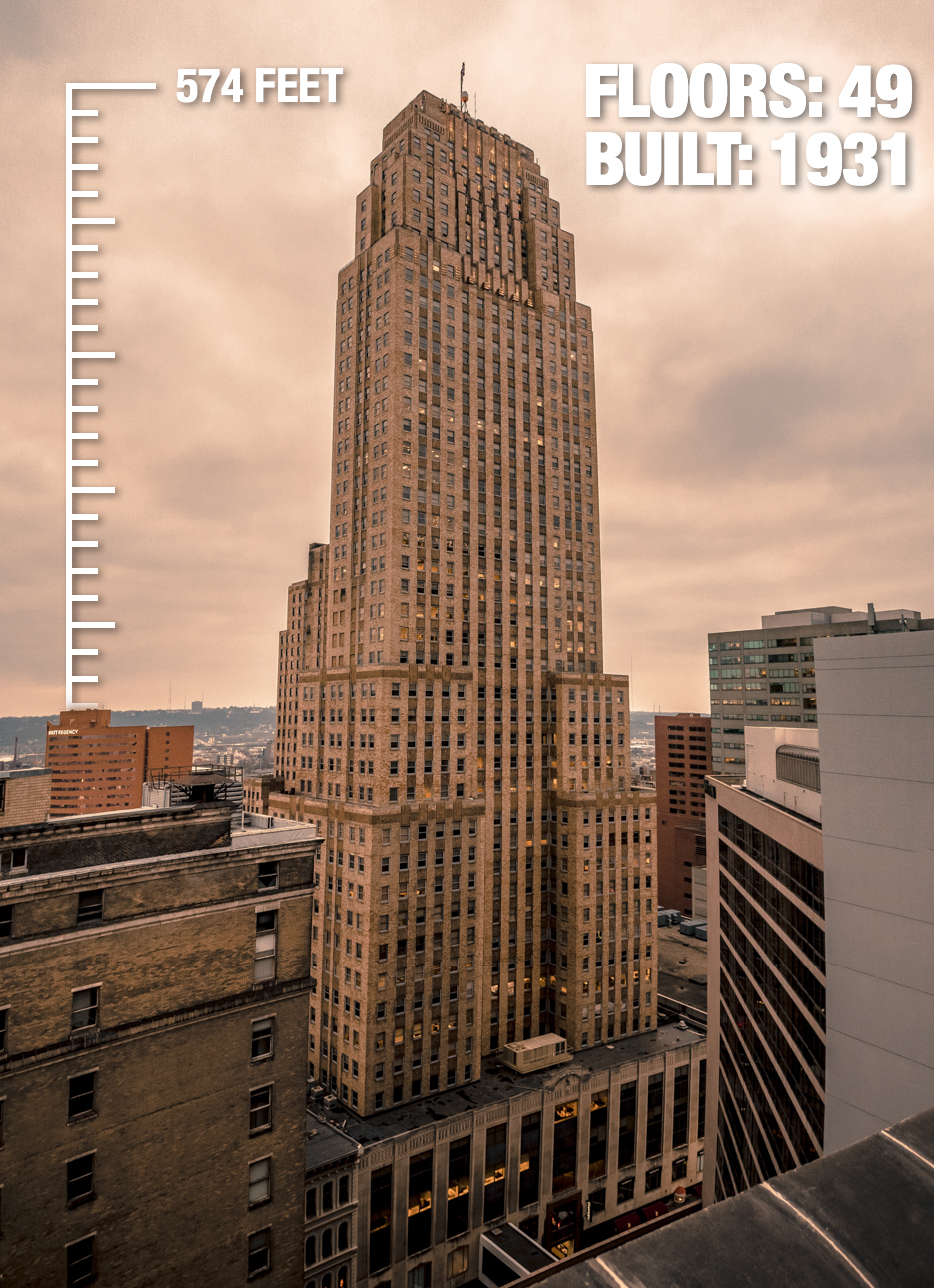 The Carew Tower: 574 feet tall, 49 floors, built in 1931 / Image: Phil Armstrong, Cincinnati Refined // Published: 2.21.17