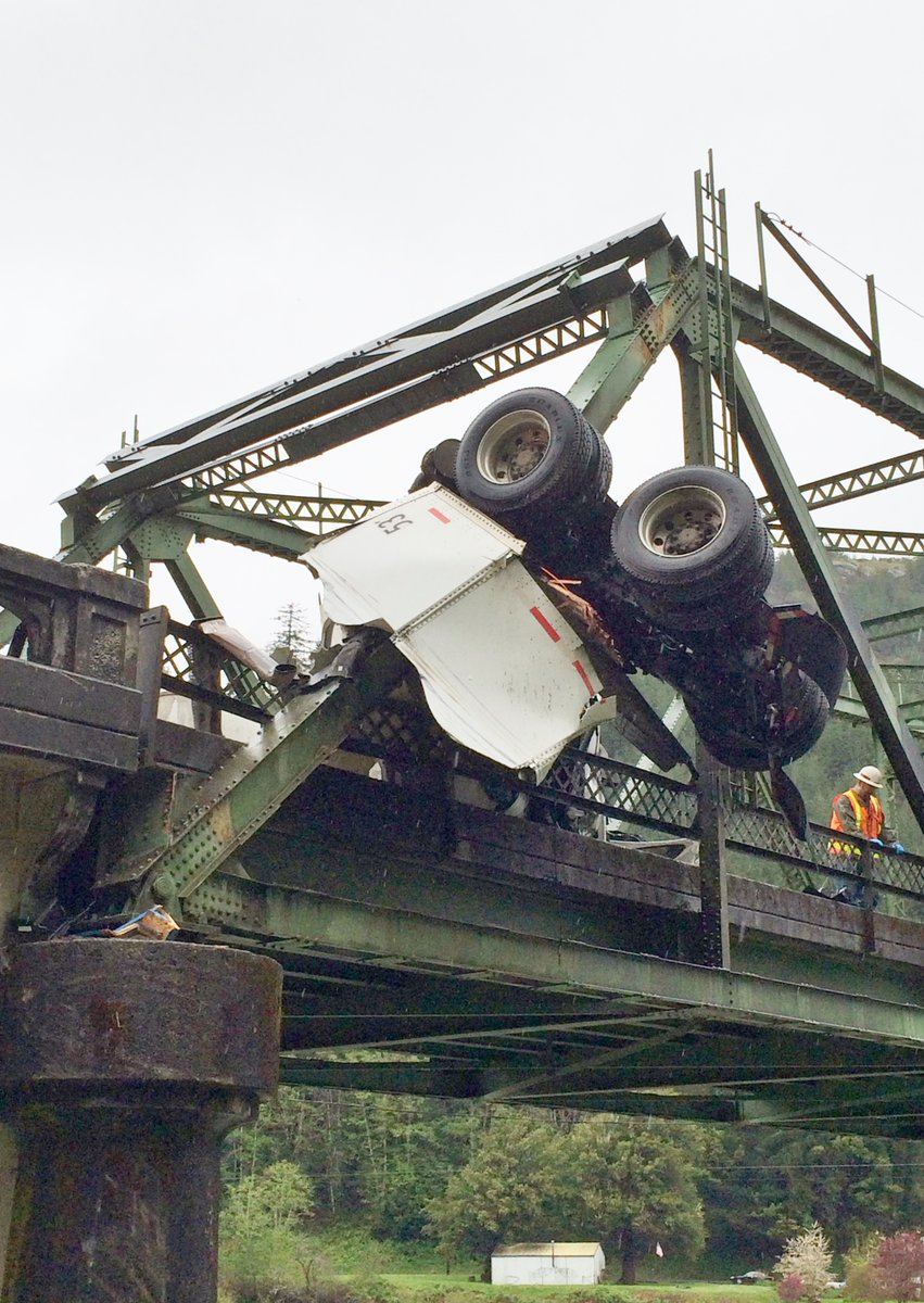 A truck crash on the Scottsburg Bridge closed Hwy 38. (ODOT photo)