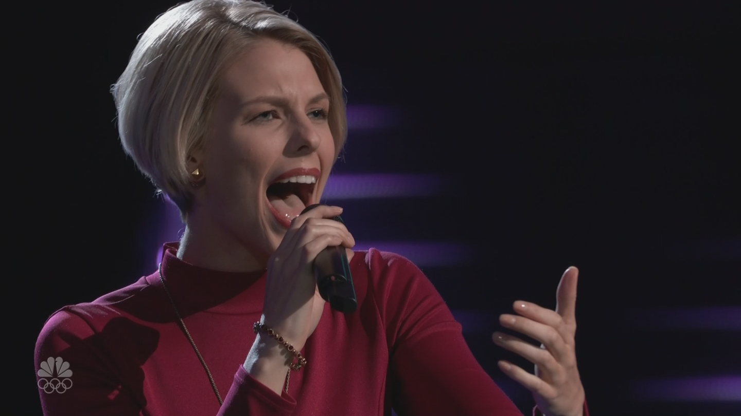 "Emily Luther, who graduated from Woonsocket High School in 2010, landed a spot on coach Adam Levine's team after singing her rendition of the song, ""Summertime"" on  NBC's ""The Voice"" Tuesday, Oct. 3, 2017. (NBC)"