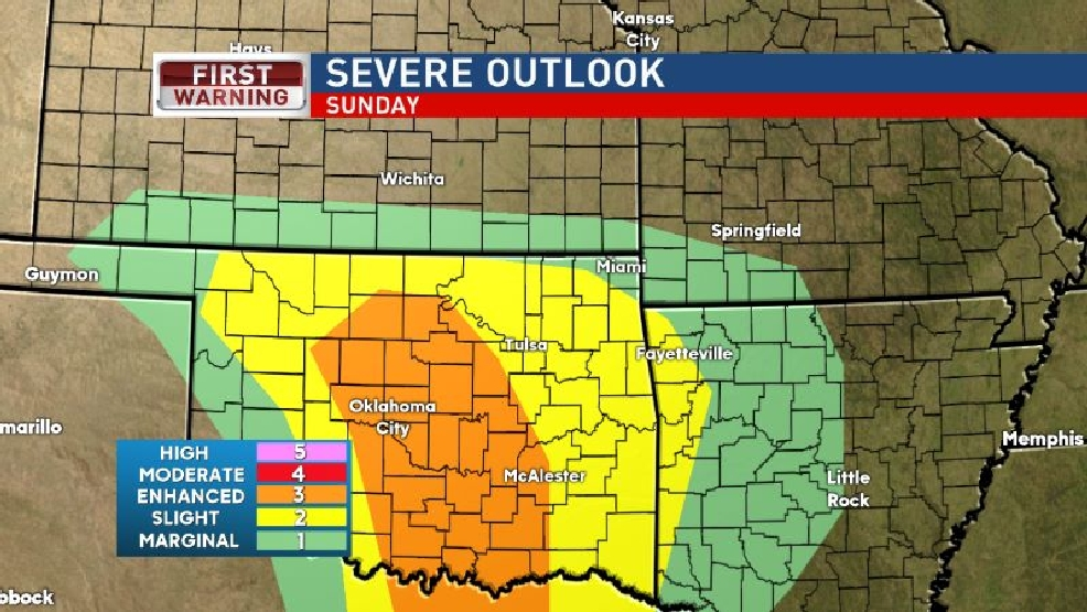 Severe weather possible Sunday afternoon and evening.