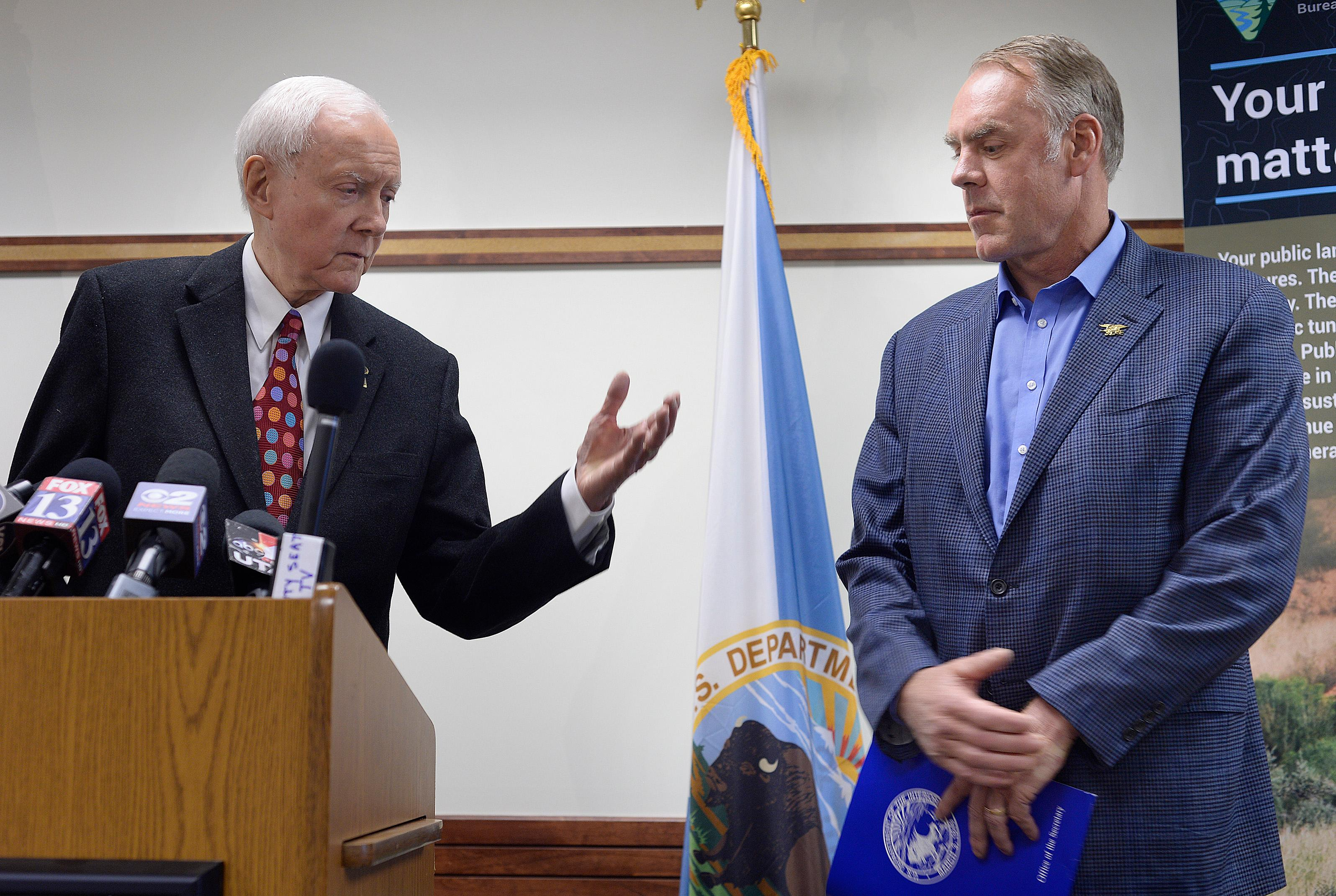Senator Orrin Hatch, R-Utah, left, introduces U.S. Interior Secretary Ryan Zinke to speak at a news conference after having met with members of the Bears Ears Commission at the Bureau of Land Management office at the Gateway in Salt Lake City, Sunday, May 7, 2017. Zinke met with tribal leaders and elected officials as he kicked off a four-day trip to the state to inspect two disputed national monuments protecting more than 3 million combined acres of the state's red rock country. (Scott Sommerdorf/The Salt Lake Tribune via AP)