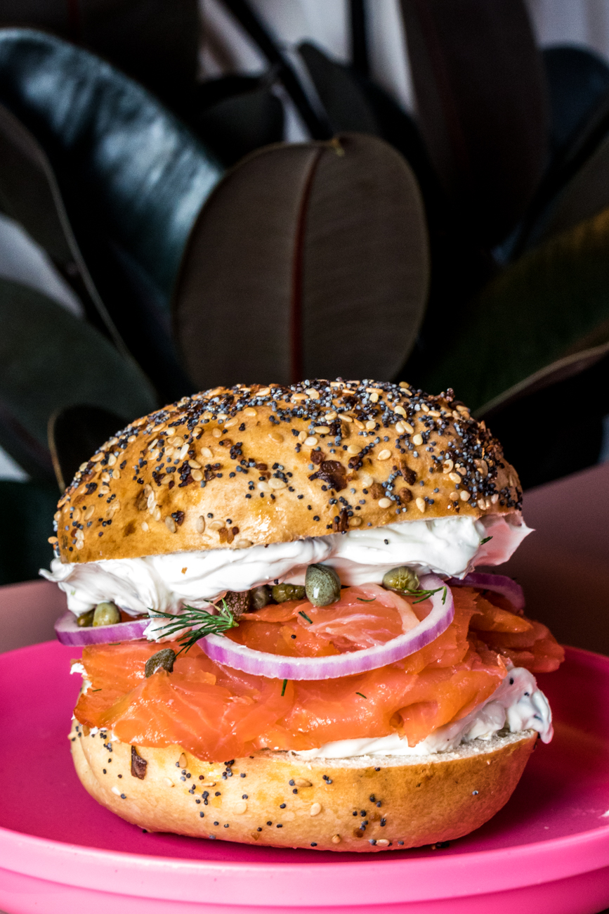 The Lil: lox, chive spread, capers, red onion, and dill on an everything bagel / Image: Catherine Viox{ }// Published: 7.24.20