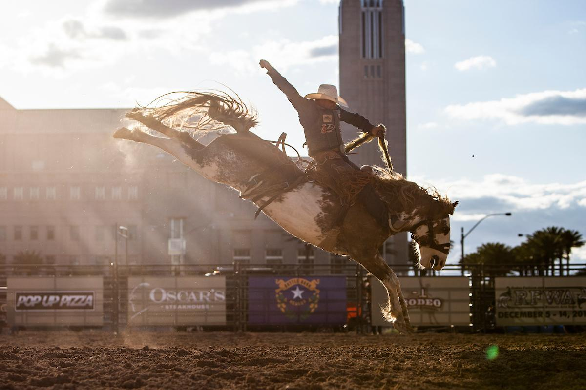 Joaquin Real competes in bareback riding during the first day of the Las Vegas Days Rodeo at the Plaza Hotel CORE Arena on Friday May 10, 2019. Las Vegas Days, formerly known as Helldorado Days, is an annual cowboy-themed event celebrating Las Vegas? tribute to the Wild West. CREDIT: Joe Buglewicz/Las Vegas News Bureau