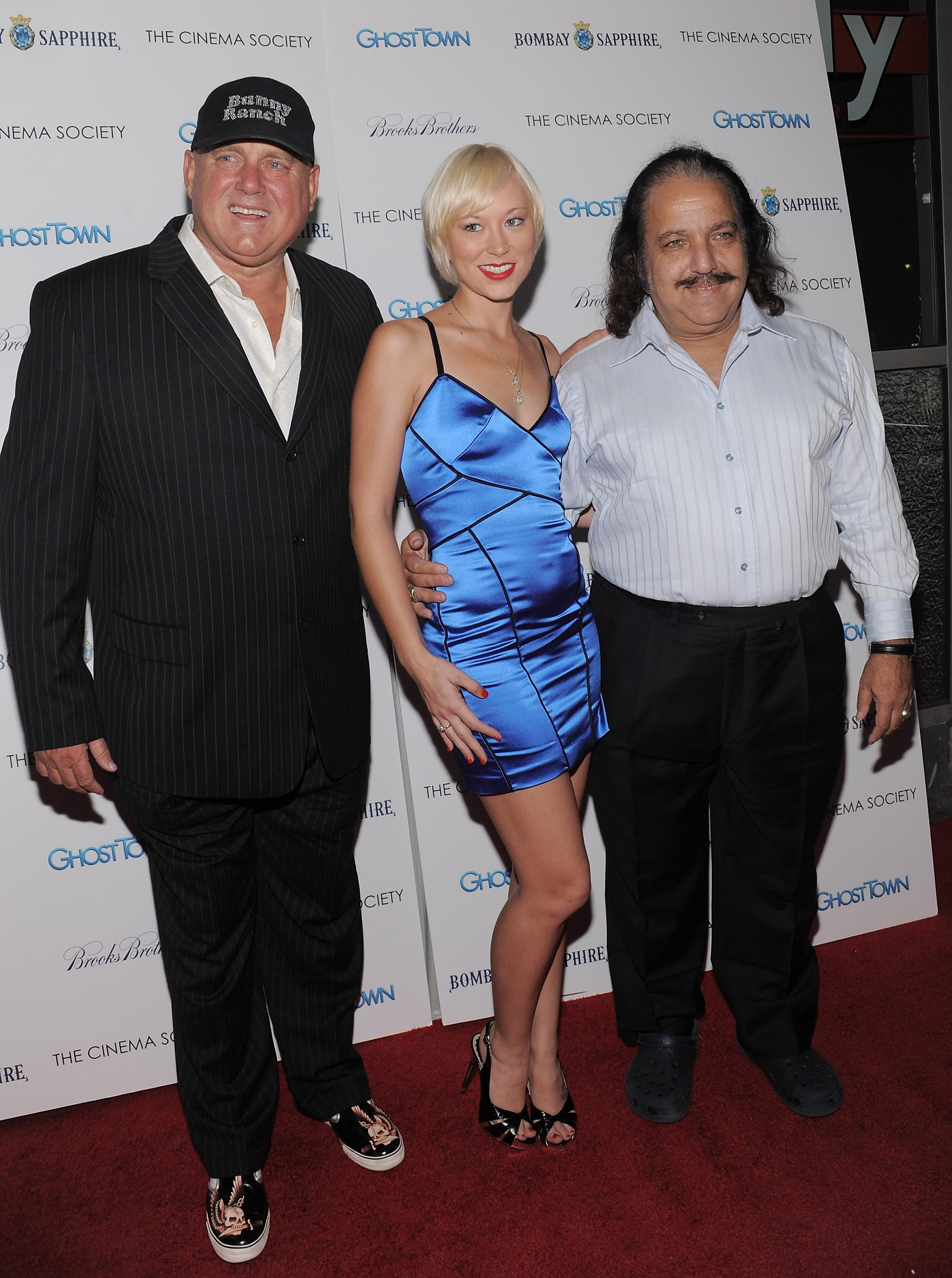 "From left, Dennis Hof, Brooke Taylor and Ron Jeremy attend a Cinema Society screening of ""Ghost Town"" at the IFC Center on Monday, Sept. 15, 2008 in New York. (AP Photo/Evan Agostini)"