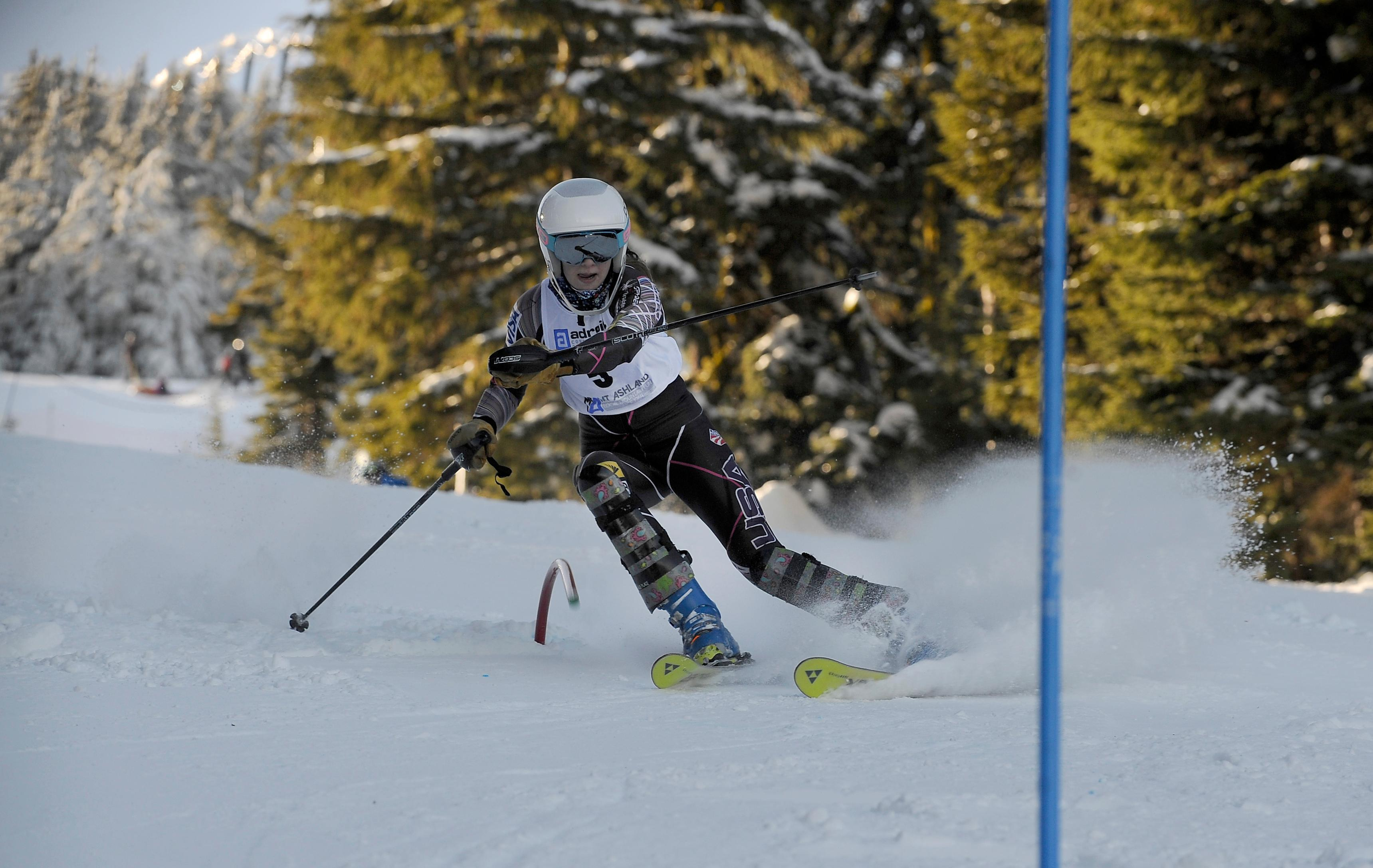 Andy Atkinson / Mail TribuneCrater's Gracen Hokanson clears a gate in her 2nd run winning the Southern Oregon Alpine League slalom event Saturday at Mt Ashland.