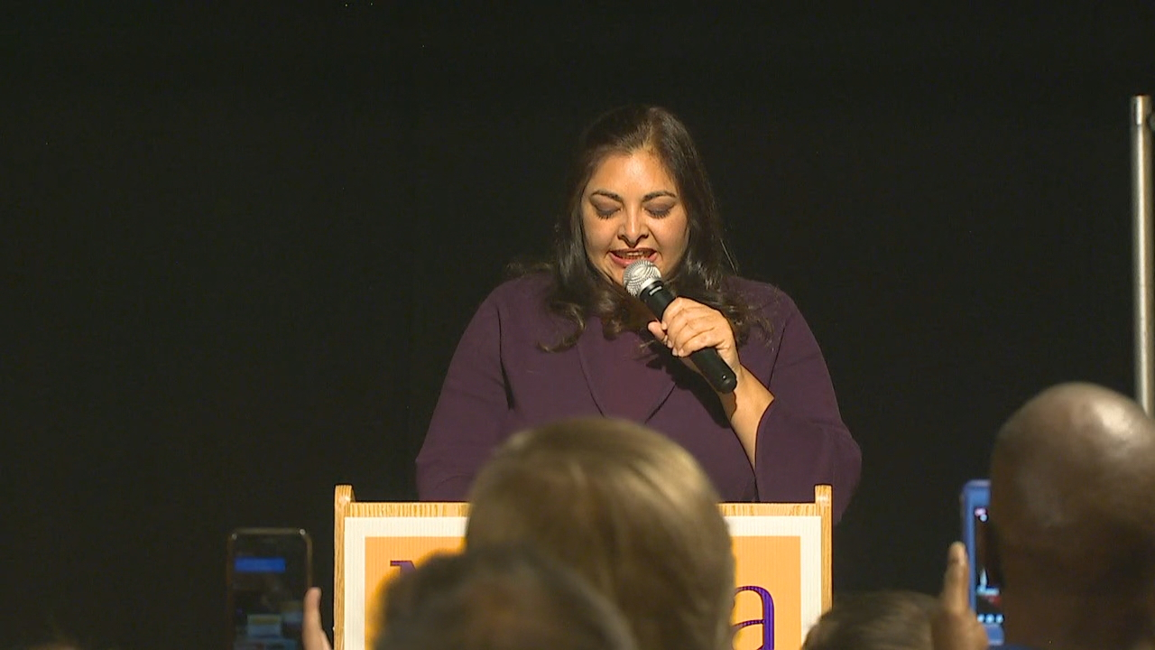 Manka Dhingra addresses supporters Tuesday night. (Photo: KOMO News)<p></p>