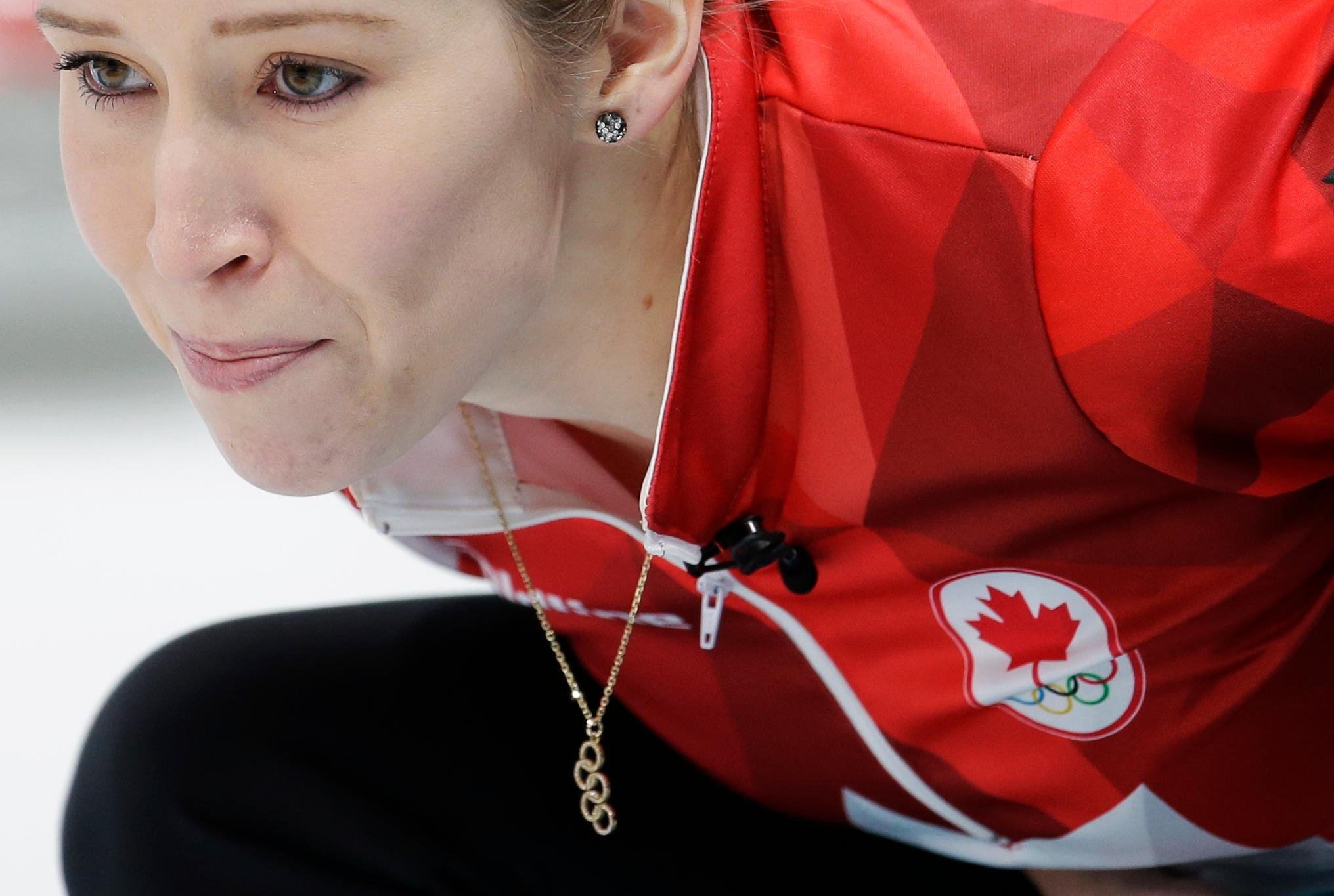 Canada's Kaitlyn Lawes looks on during the mixed doubles semi-final curling match against Norway's Kristin Skaslien and Magnus Nedregotten at the 2018 Winter Olympics in Gangneung, South Korea, Monday, Feb. 12, 2018. (AP Photo/Natacha Pisarenko)