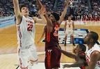 Wisconsin forward Ethan Happ (22) goes to the basket against Virginia Tech forward Zach LeDay (32) during the second half of a first-round game in the NCAA Tournament, Thursday, March 16, 2017, in Buffalo, N.Y.