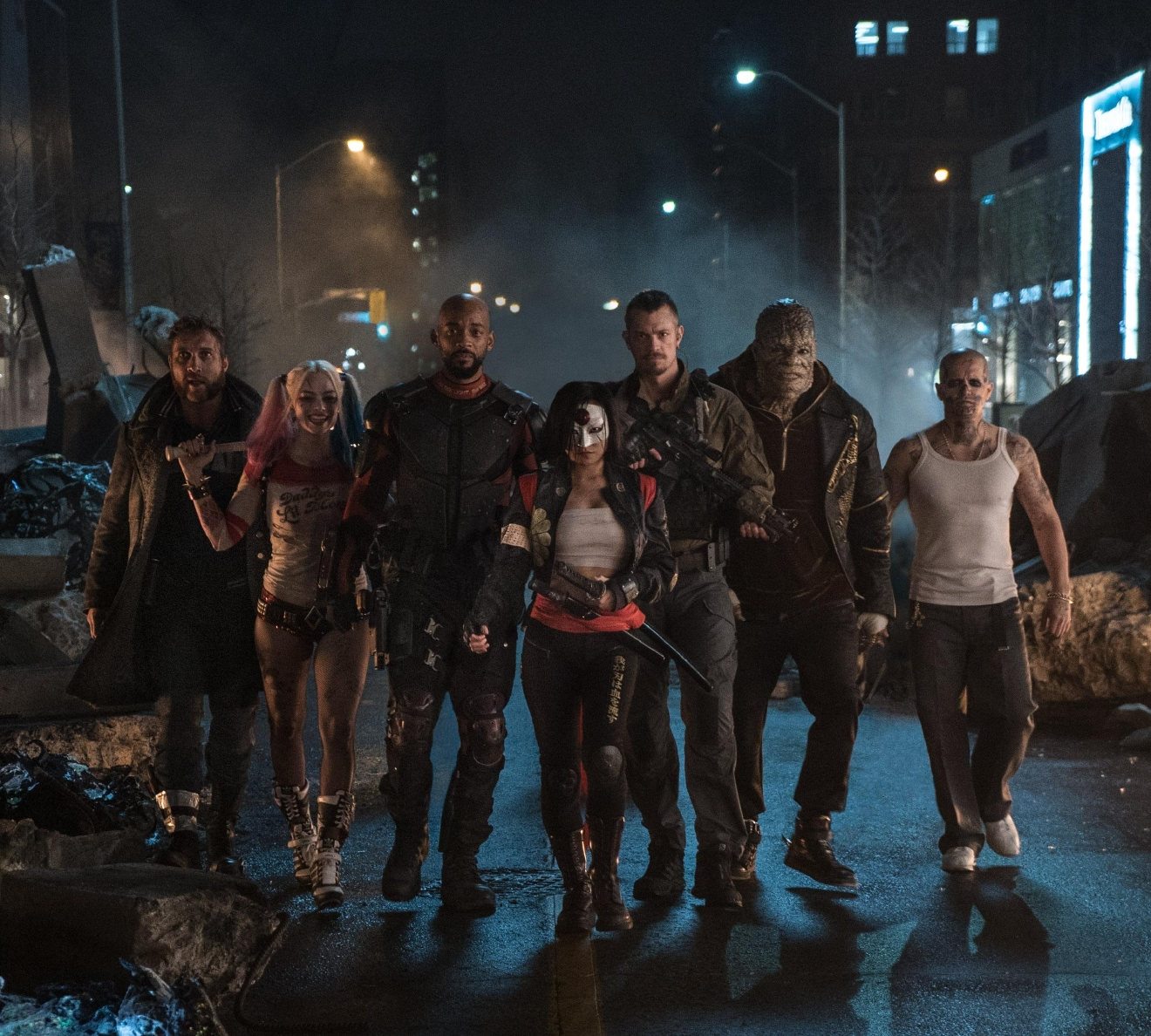 "(L-r) JAI COURTNEY as Boomerang, MARGOT ROBBIE as Harley Quinn, WILL SMITH as Deadshot, KAREN FUKUHARA as Katana, JOEL KINNAMAN as Rick Flag, ADEWALE AKINNUOYE-AGBAJE as Killer Croc and JAY HERNANDEZ as Diablo in Warner Bros. Pictures' action adventure ""SUICIDE SQUAD,"" a Warner Bros. Pictures release."