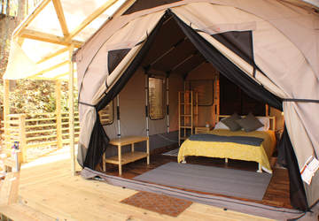 Go glamping in a converted caboose, luxury tipi or rustic