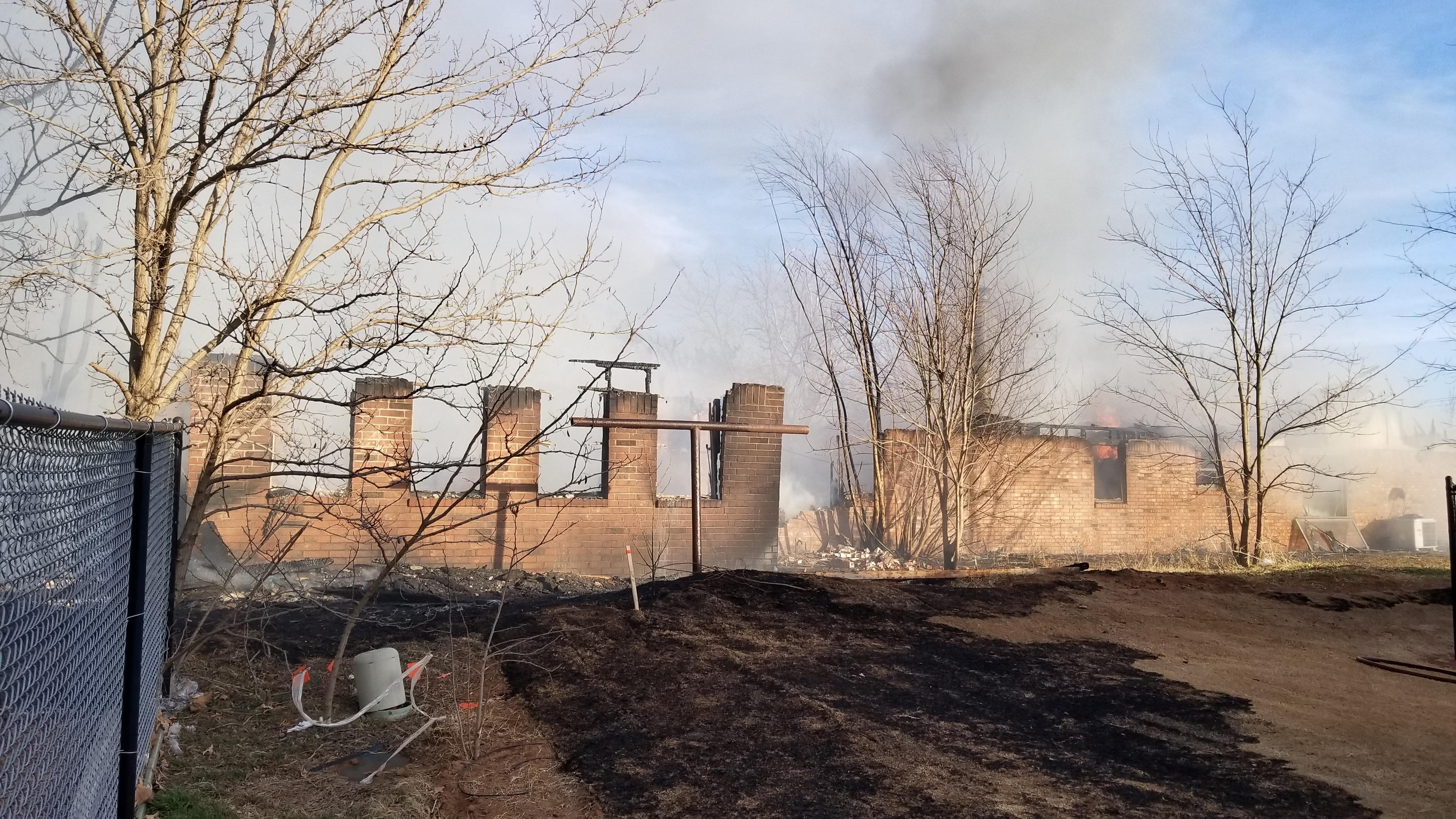 Two homes were destroyed in a grass fire Jan. 30 in Logan County. (KOKH/Steven Anderson)