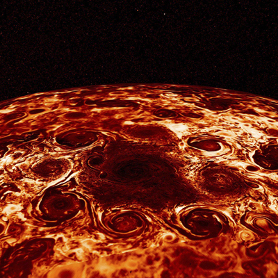 This composite image provided by NASA, derived from data collected by the Jupiter-orbiting Juno spacecraft, shows the central cyclone at the planet's north pole and the eight cyclones that encircle it. Jupiter's poles are blanketed by geometric clusters of cyclones and its atmosphere is deeper than suspected, scientists reported Wednesday, March 7, 2018. (NASA/JPL-Caltech/SwRI/ASI/INAF/JIRAM via AP)