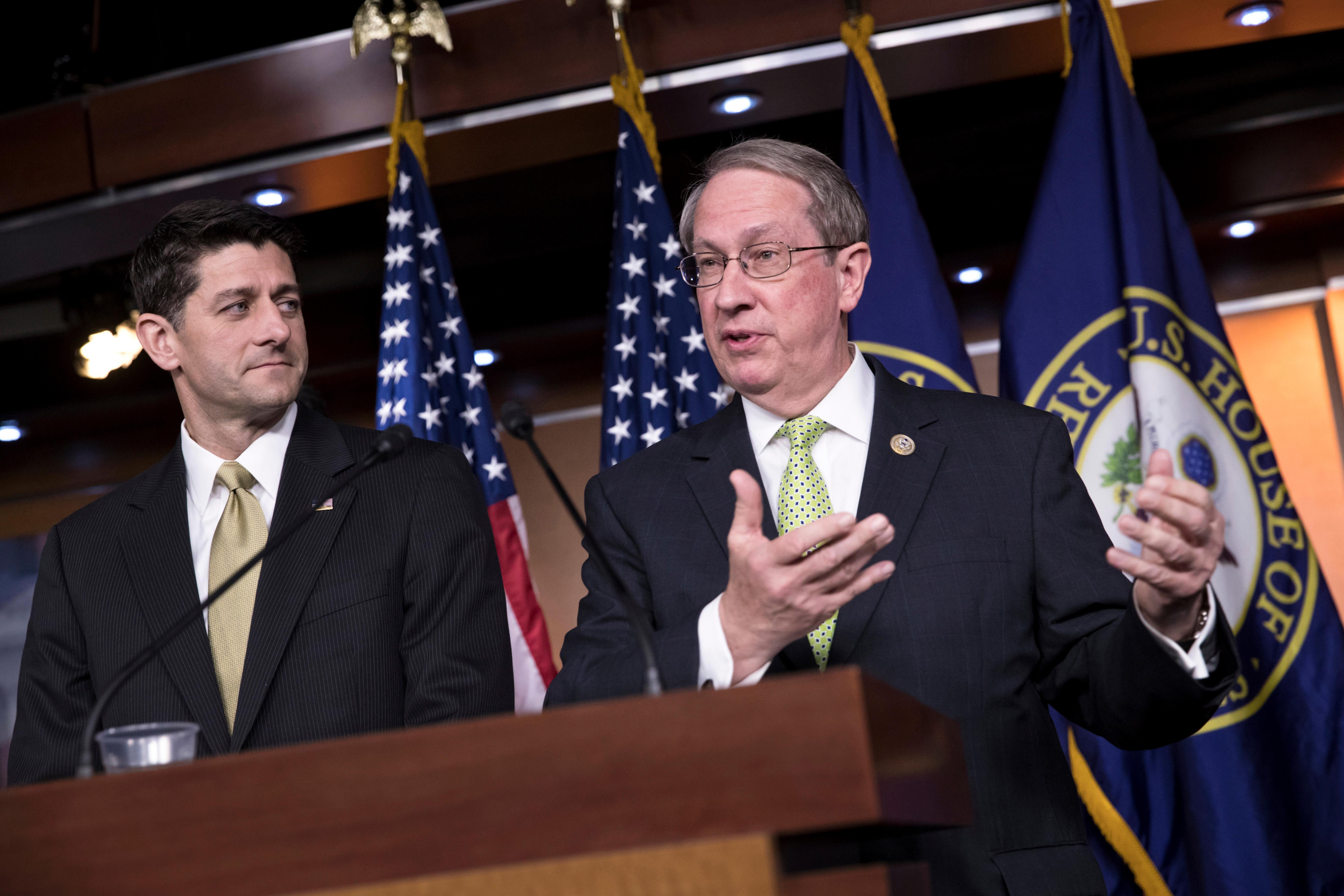 "House Speaker Paul Ryan, R-Wis., left, is joined by House Judiciary Committee Chairman Bob Goodlatte, R-Va., right, as the Republican-led House pushes ahead on legislation to crack down on illegal immigration, during a news conference at the Capitol in Washington, Thursday, June 29, 2017. One bill would strip federal funds from ""sanctuary"" cities that shield residents from federal immigration authorities, while a separate bill would stiffen punishments on people who re-enter the U.S. Illegally. (AP Photo/J. Scott Applewhite)"