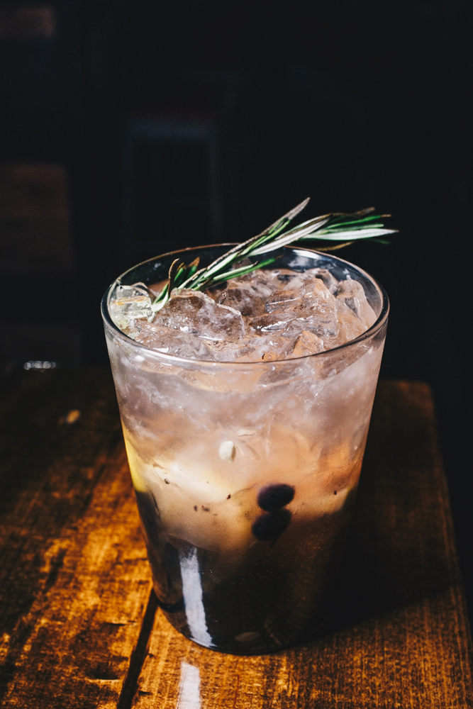 Wild Harvest: Ole Smoky Blackberry Moonshine, muddled blueberries and lemon, sugar water, and fresh rosemary / Image: Catherine Viox // Published: 3.7.19