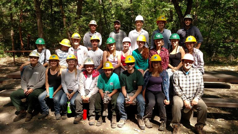 Photo by Maureen Battistella<br>The 2018 Ashland Youth Training and Employment Program crew in Lithia Park after a day's work near Acid Castles in the Ashland watershed.