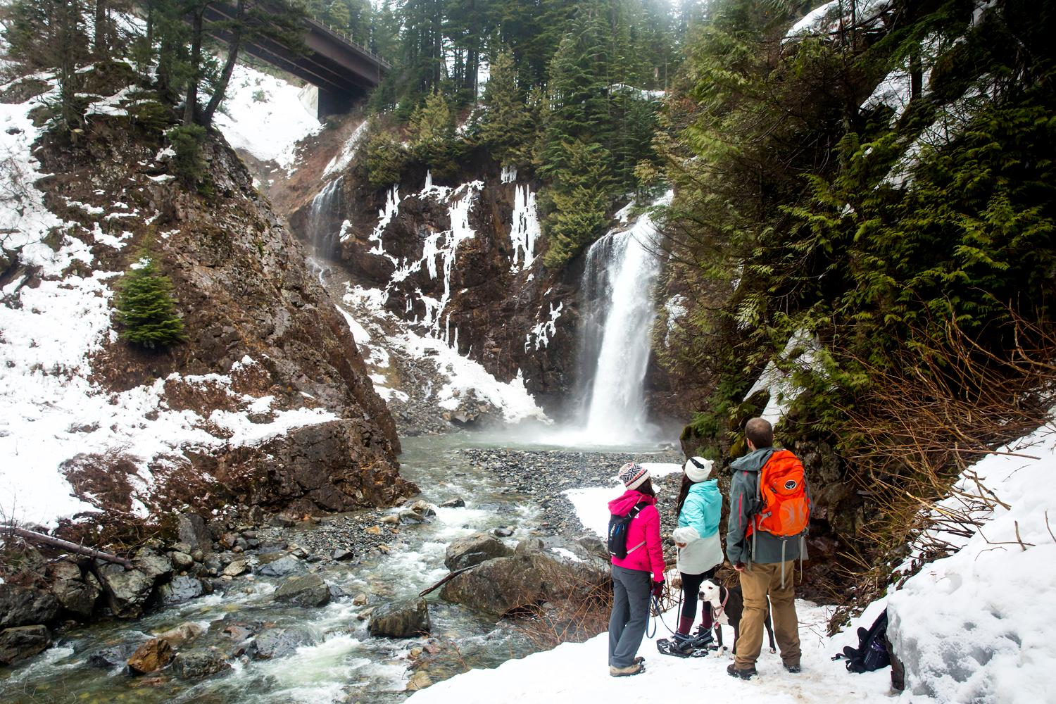 Although we were hoping for more snow, what's there not to love about Franklin Falls? Especially considering it's a short drive from Seattle and a 2 mile hike roundtrip with only 400 feet of elevation gain. For more information, hike updates, and directions to this beautiful gem, check out the hike on the Washington Trail Association's website. (Sy Bean / Seattle Refined)