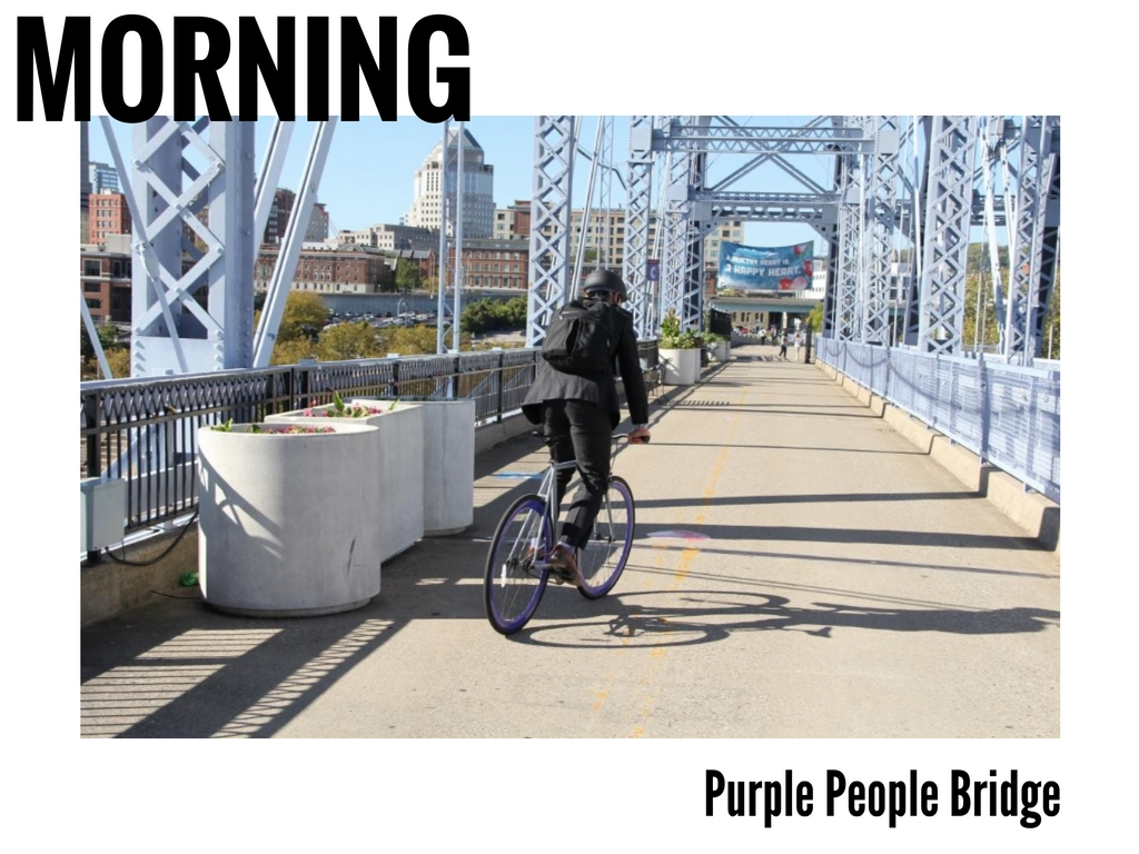 Enjoy the view folks! Nothin' like soakin' up that sweet sweet Cincy skyline while ambling across the Purple People Bridge (a.k.a. the Newport Southbank Bridge). // IMAGE: Clay Griffith, Cincinnati Refined