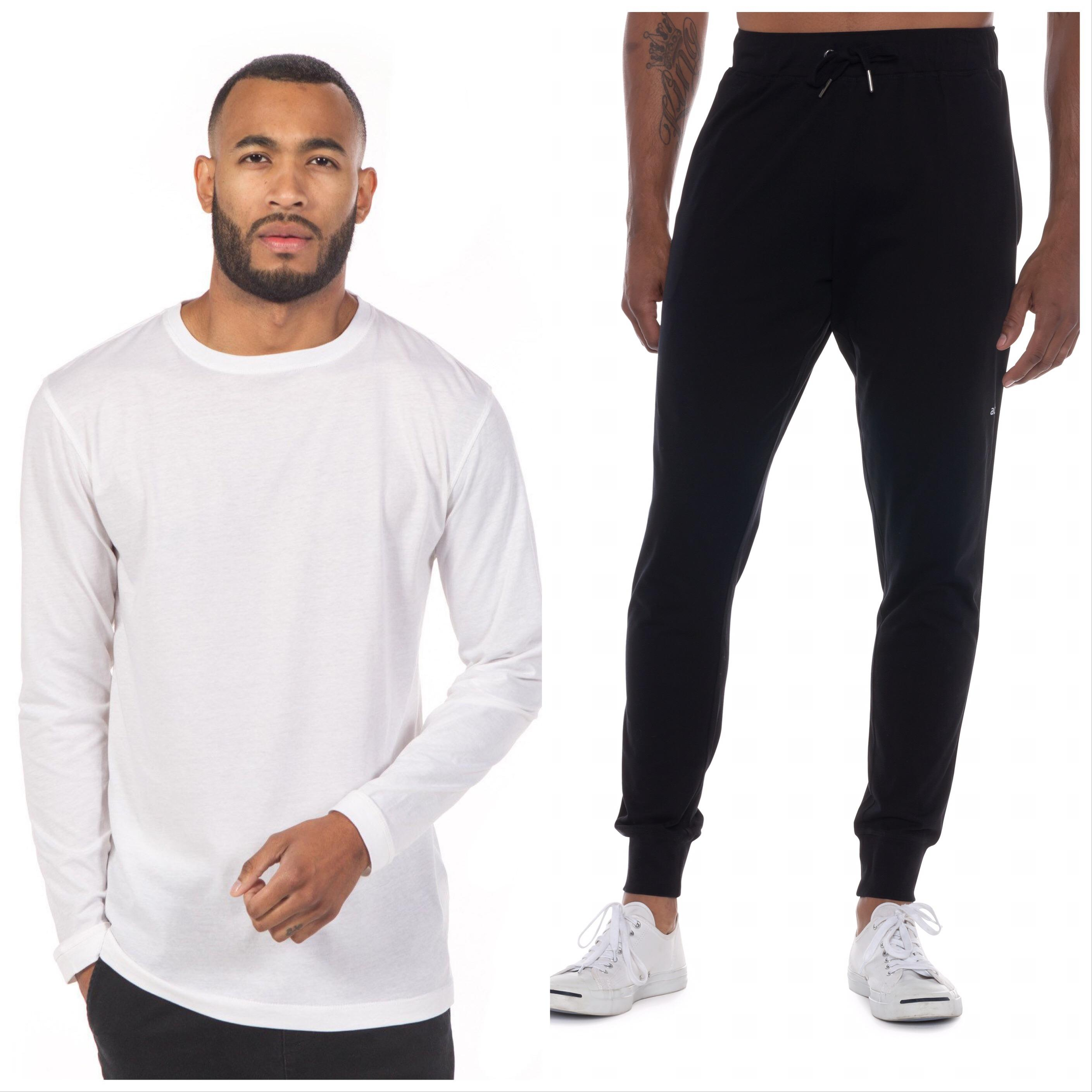 For him - check out this{ }Long Sleeve Tee ($60) paired with{ } the black Jersey Lounge Pants ($115) from Ably.{ } { }Whatever his routine, everybody's looking to be comfortable and this look nails it! (Image: Ably Apparel)
