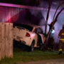 Crazy car chase between family members ends when they both smash into house, spark fire