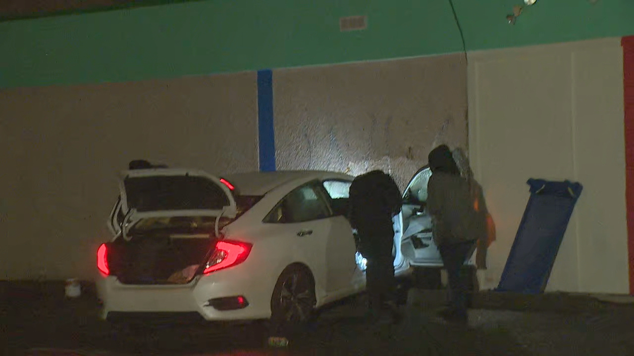 Police are searching for a carjacking suspect who crashed a vehicle into a Tukwila daycare Friday night, Feb. 2, 2018. (Photo: KOMO News)