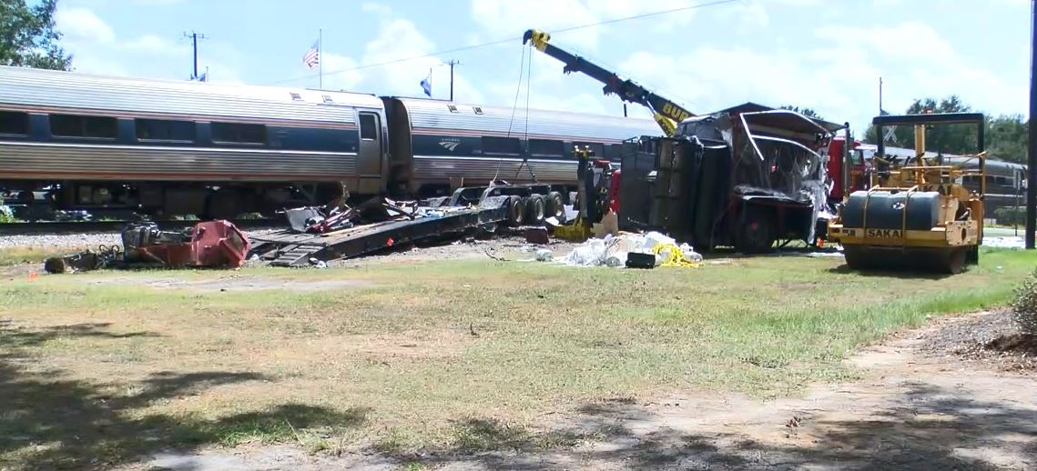 A tractor trailer crashed into an Amtrak train Friday morning on Highway 1 in the Patrick community of Chesterfield County. (Tonya Brown/WPDE)