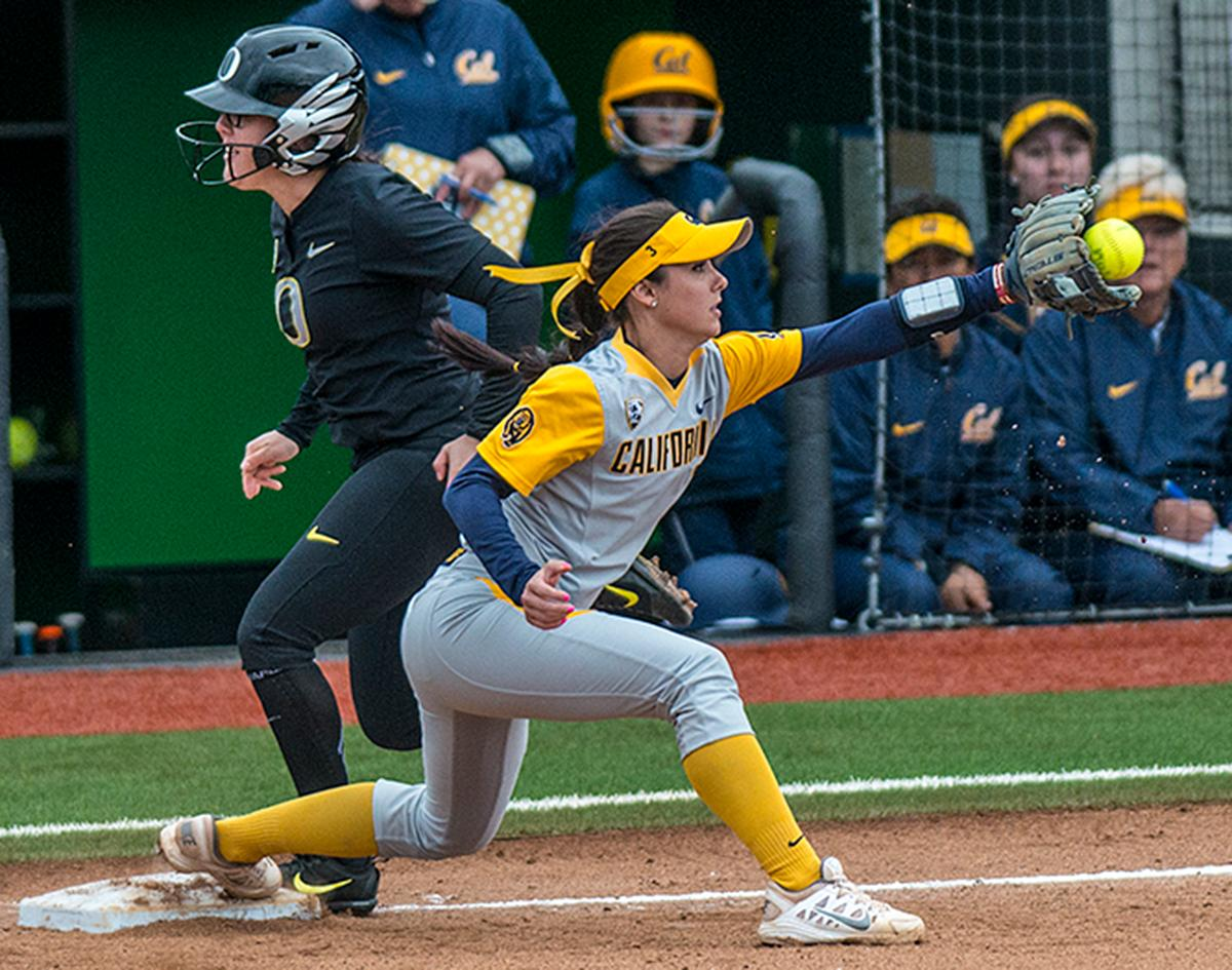 Cal Bears Kylie Reed (#3) catches the ball at first base. The Oregon Ducks defeated the Cal Bears 2-1 in game two of a three-game series. Photo by Rhianna Gelhart, Oregon News Lab