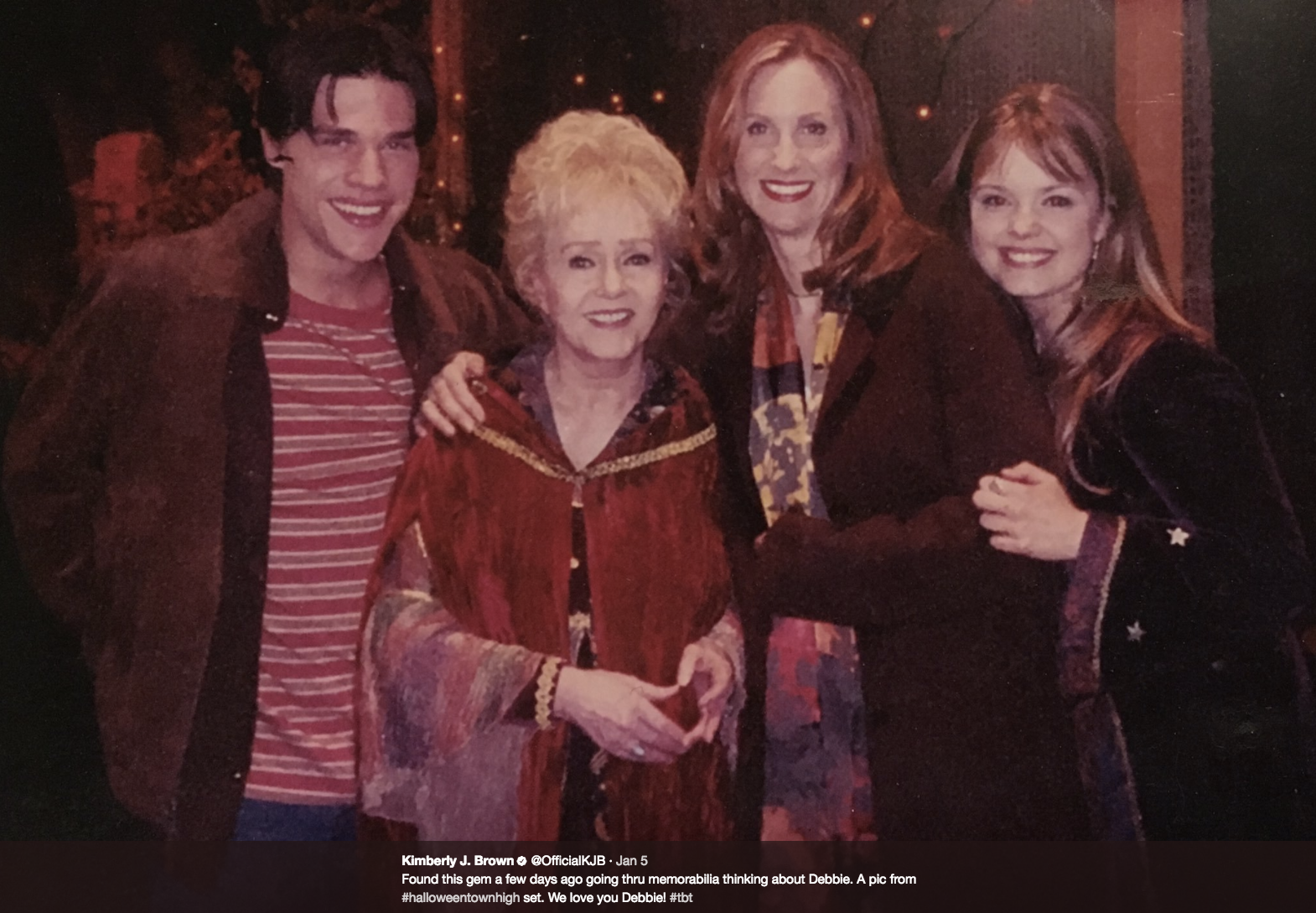 Brown will be joined by J. Paul Zimmerman (brother Dylan) and Judith Hoag (mom Gwen) and possibly Emily Roeske (Sophie). The Cromwells will be participating in the lighting ceremony of the jack-o'-lantern in the town square, in honor of Debbie Reynolds. (Image: @officialkjb Twitter)