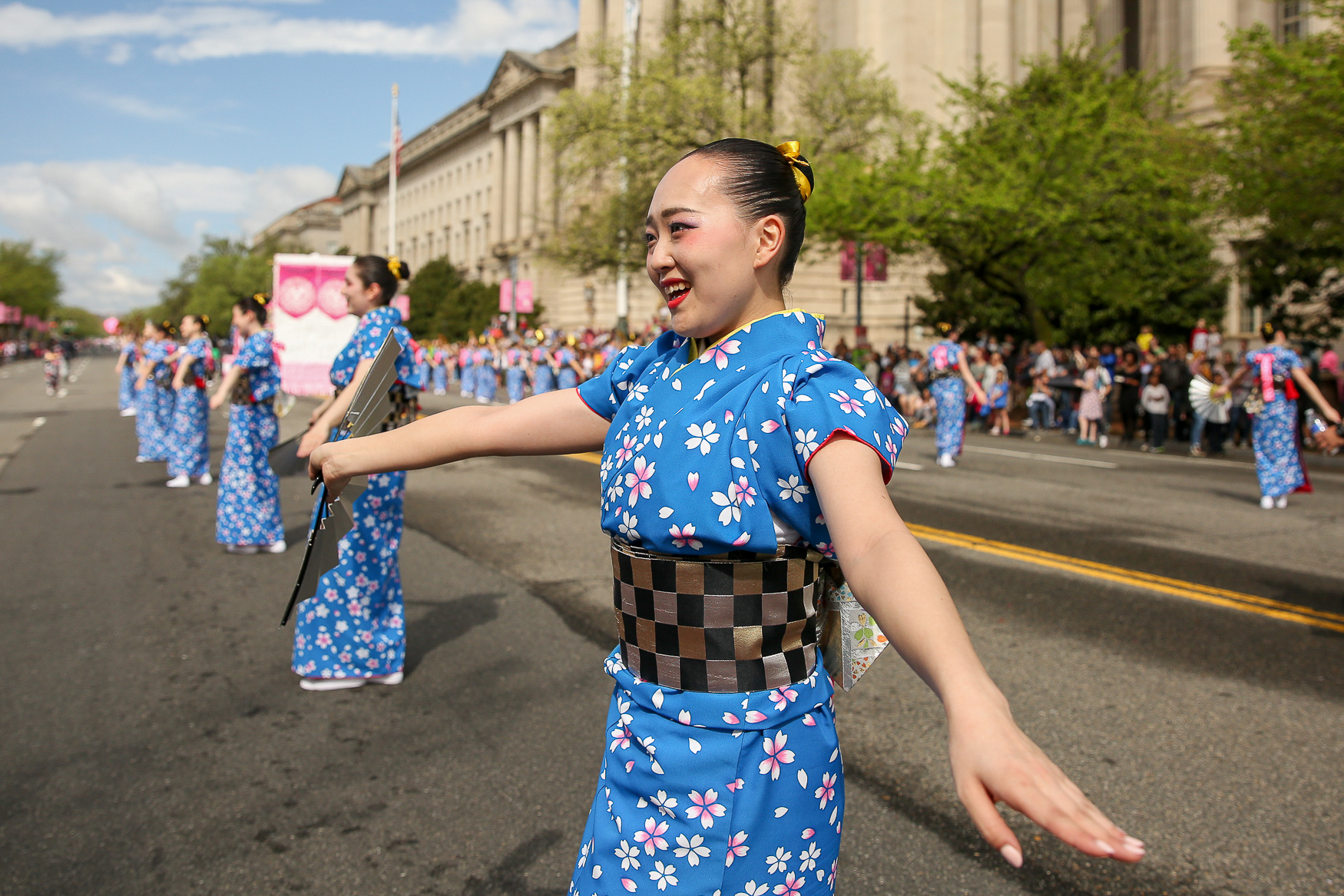 Early morning showers didn't scare away thousands of people who showed up for the 2019 Cherry Blossom Parade. The parade typically marks the end of the official cherry blossom season. This year's grand marshall was{ }Anthony Anderson, a comedian and actor best known for his role in 'Blackish' and the acts included marching bands from across the country, dancers and drummers from Japan{ } and locals like the Racing Presidents. (Amanda Andrade-Rhoades/DC Refined)