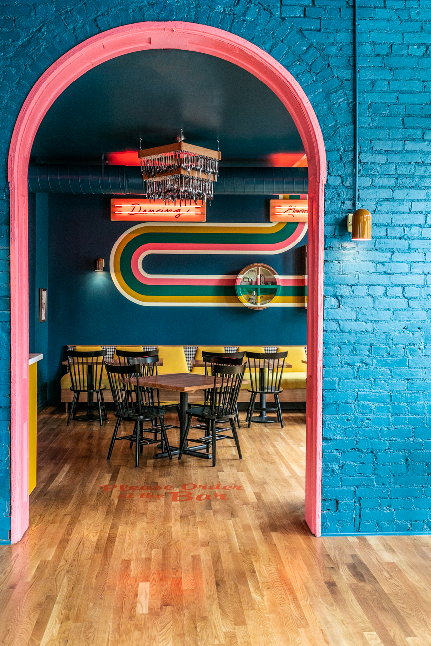 HomeMaker's aesthetic is colorful and bold. Living up to its name, the bar's decor subtly resembles a home from a bygone era without completely losing itself in a period-specific theme. The result is a fashionably unique, memorable space on a corner  of OTR that was previously unaccustomed to cocktail-infused nightlife. / Image: Amy Elisabeth Spasoff // Published: 9.9.19