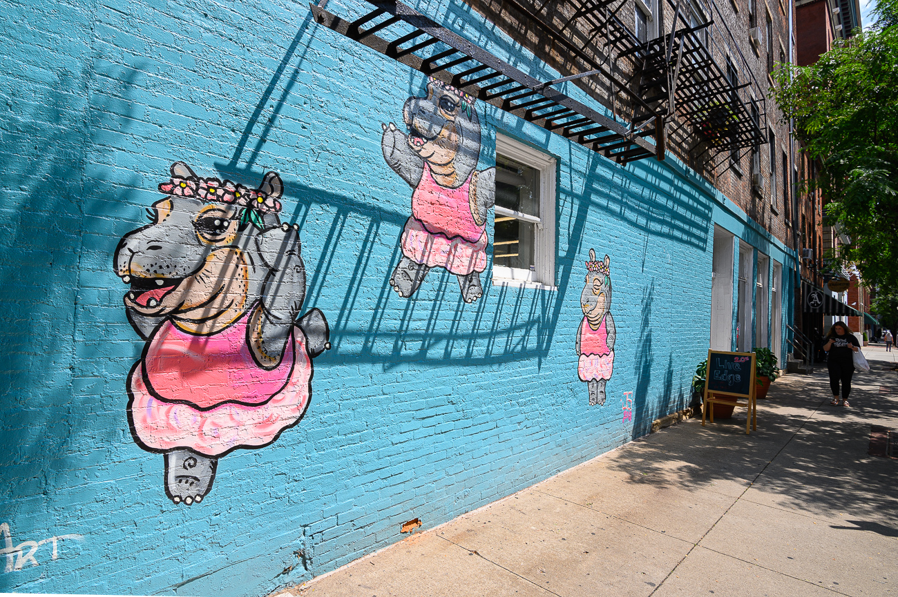 The ballerina Fiona mural was done around the time of Fiona's first birthday. Josh painted Fiona as a ballerina in a series of poses to inspire passersby to mimic her for photo opportunities. The aqua blue wall and cotton candy pink tutus help the mural pop. / Image: Phil Armstrong, Cincinnati Refined // Published: 8.10.19