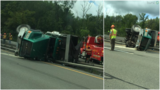 SP: Blown tire caused dumptruck to rollover on I-690 in Geddes