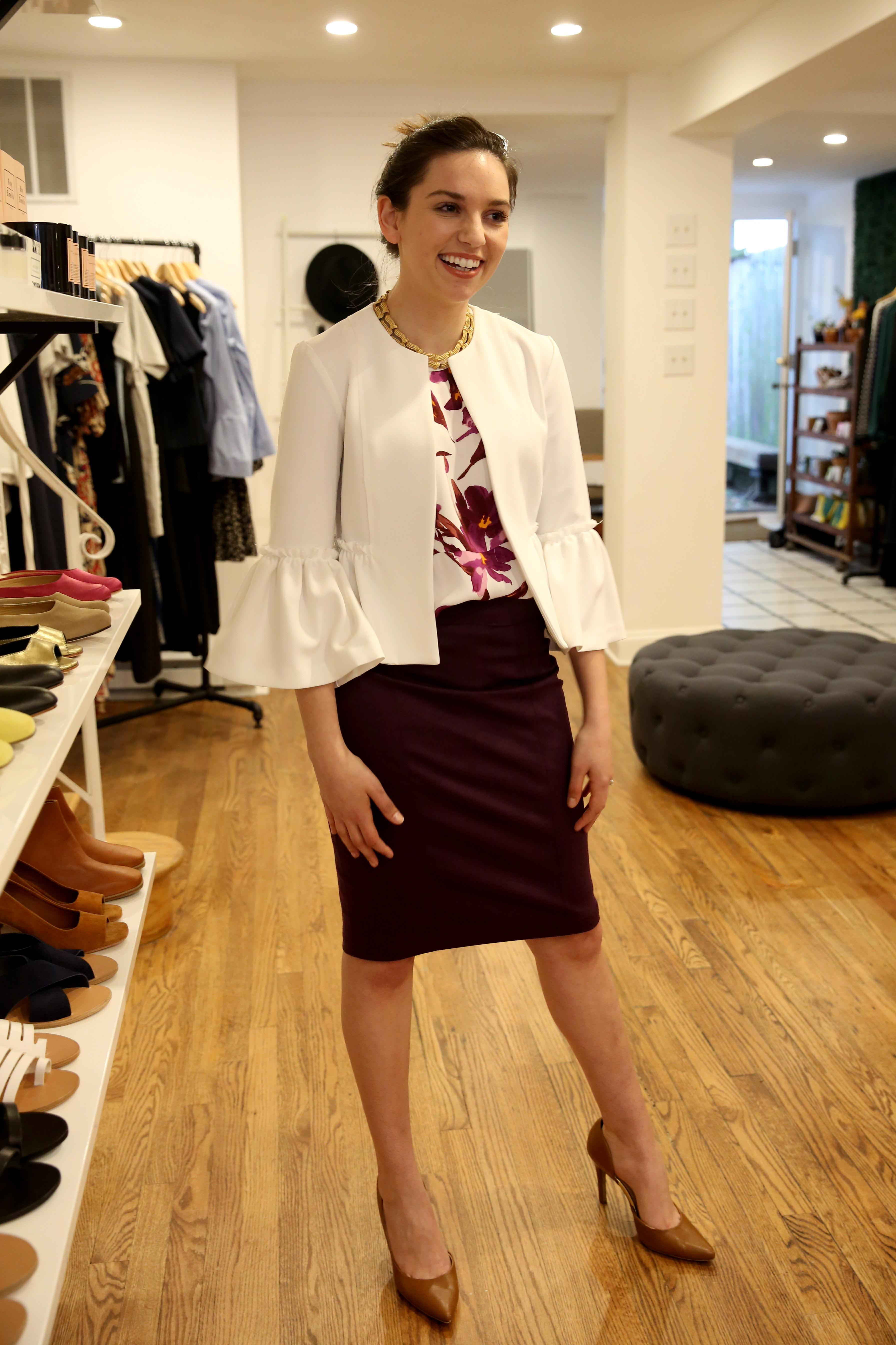 A trendy bell sleeve jacket, in this case a white one, isn't as thick as a regular jacket, but will keep you warm at your desk. It can complete and dress up any outfit and is easy to throw in your bag or carry. (Image: Amanda Andrade-Rhoades/DC Refined)