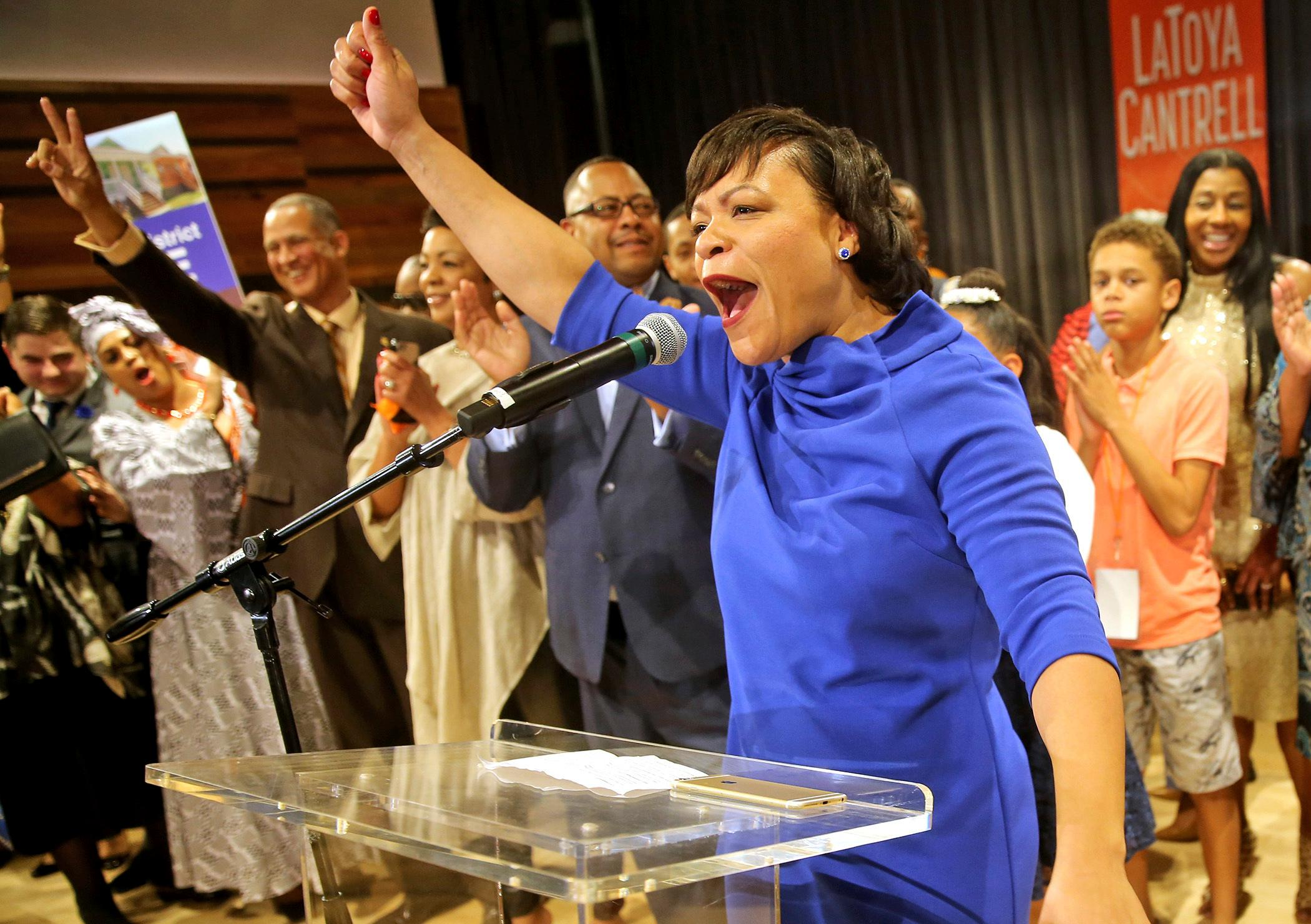 LaToya Cantrell celebrates her victory in the New Orleans mayoral election during her election party at the New Orleans Jazz Market in Central City on Saturday, Nov. 18, 2017, in New Orleans. Cantrell, a City Council member who gained a political following as she worked to help her hard-hit neighborhood recover from Hurricane Katrina, was the victor Saturday night in an election that will make her the first woman mayor in New Orleans' history. (Michael DeMocker/NOLA.com The Times-Picayune via AP)