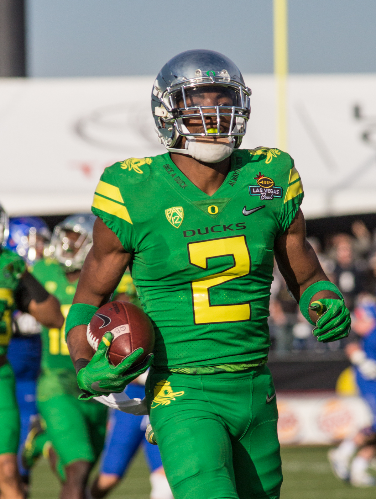 Oregon safety Tyree Robinson (#2) runs the ball for a touchdownfollowing a Boise State fumble. The Boise State Broncos defeated the Oregon Ducks 38 to 28 in the 2017 Las Vegas Bowl at Sam Boyd Stadium in Las Vegas, Nevada on Saturday December 17, 2017. The Las Vegas Bowl served as the first test for Oregon's new Head Coach Mario Cristobal following the loss of former Head Coach Willie Taggart to Florida State University earlier this month. Photo by Ben Lonergan, Oregon News Lab