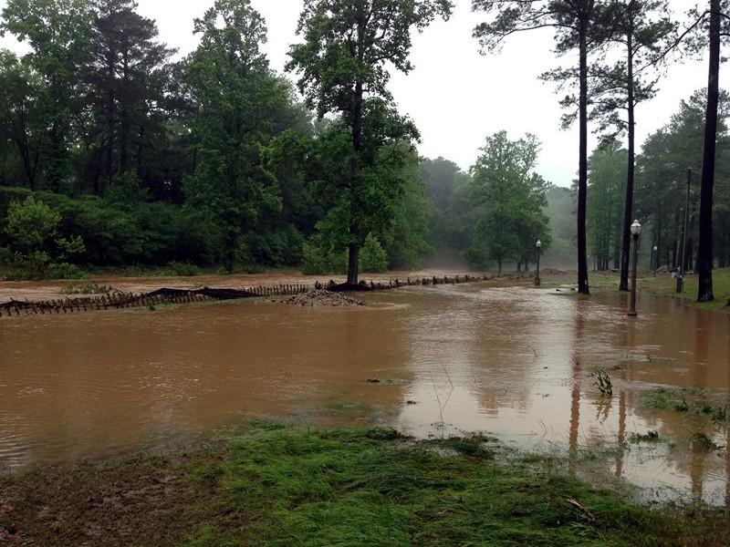 Cahaba River overflows from heavy rains in Trussville Saturday, May 18, 2013. Photo from Jay Simpson.